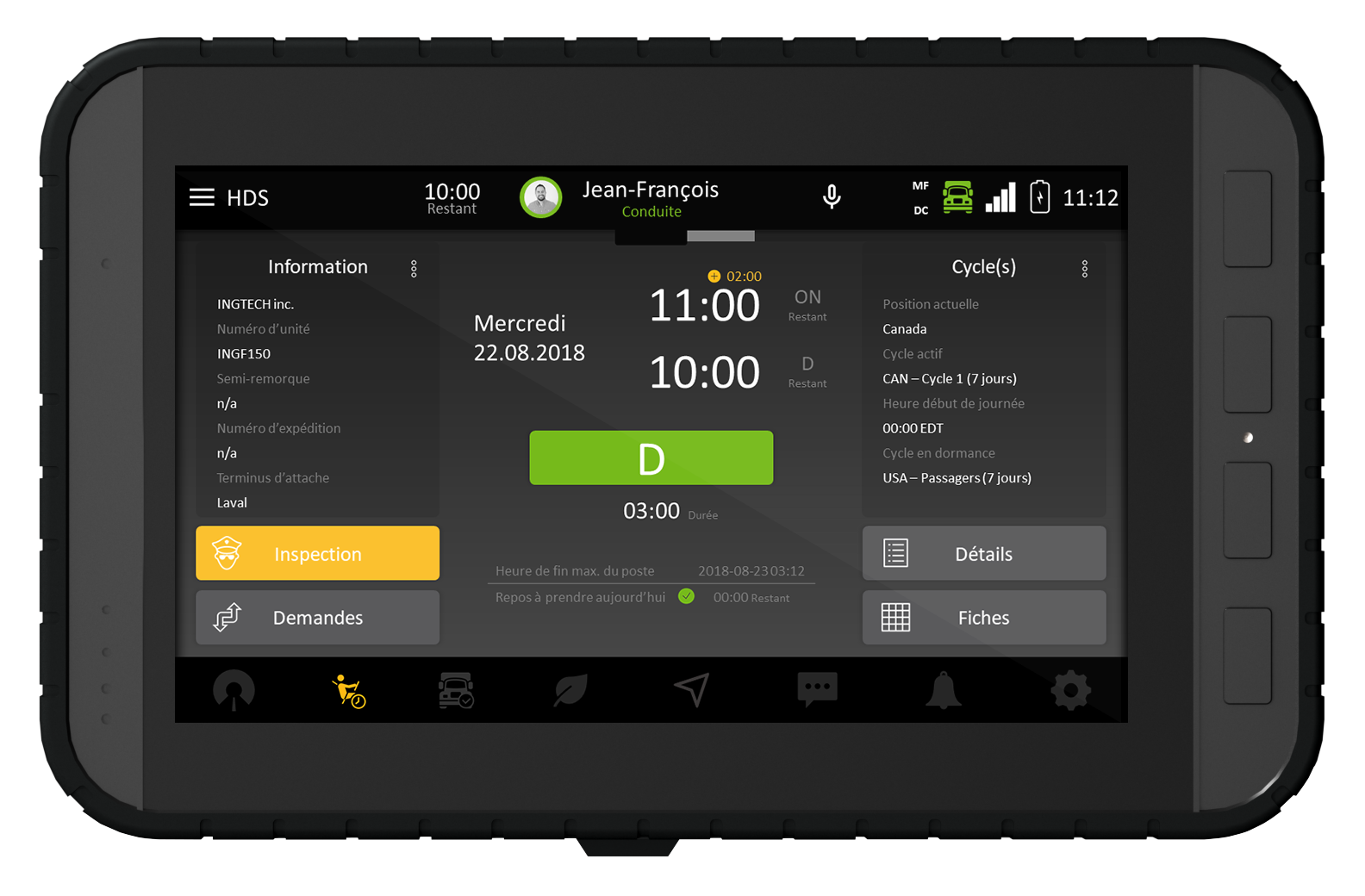 Tablet presenting the INGTECH interface